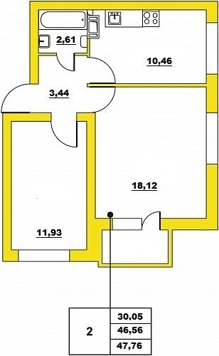 Планировка Двухкомнатная квартира площадью 47.76 кв.м в ЖК «ЖК Итальянский квартал»
