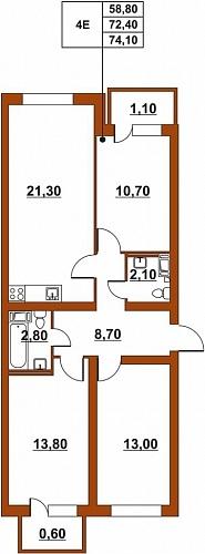 Планировка Четырёхкомнатная квартира (Евро) площадью 74.72 кв.м в ЖК «ЖК Итальянский квартал»