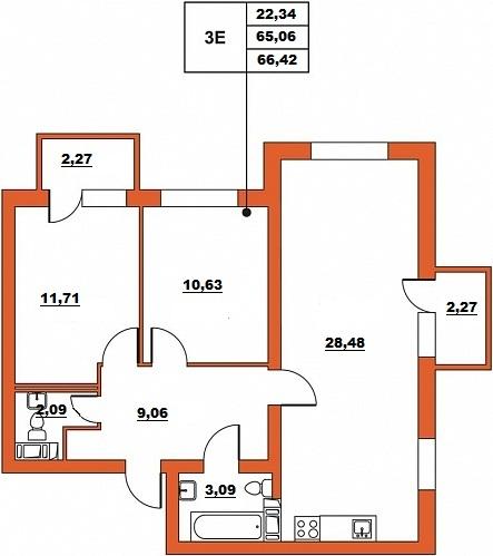 Планировка Трёхкомнатная квартира (Евро) площадью 66.42 кв.м в ЖК «ЖК Итальянский квартал»