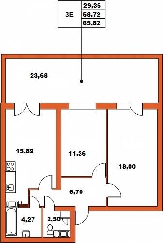 Планировка Трёхкомнатная квартира (Евро) площадью 65.82 кв.м в ЖК «ЖК Итальянский квартал»