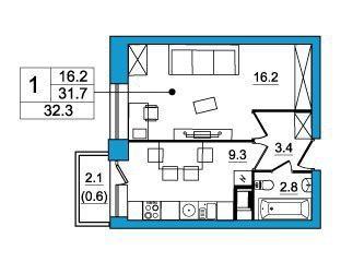 Планировка Однокомнатная квартира площадью 31.7 кв.м в ЖК «ЖК Итальянский квартал»