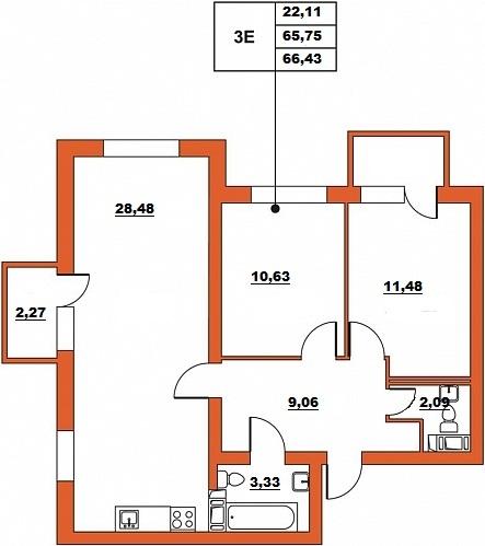 Планировка Трёхкомнатная квартира (Евро) площадью 66.43 кв.м в ЖК «ЖК Итальянский квартал»
