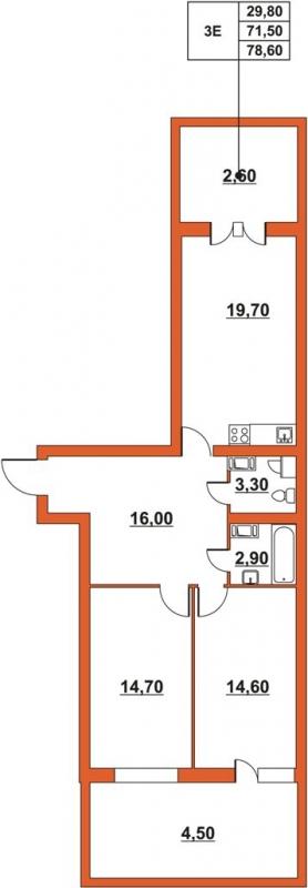 Планировка Трёхкомнатная квартира (Евро) площадью 77.36 кв.м в ЖК «ЖК Итальянский квартал»