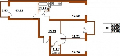 Планировка Четырёхкомнатная квартира (Евро) площадью 76.56 кв.м в ЖК «ЖК Итальянский квартал»
