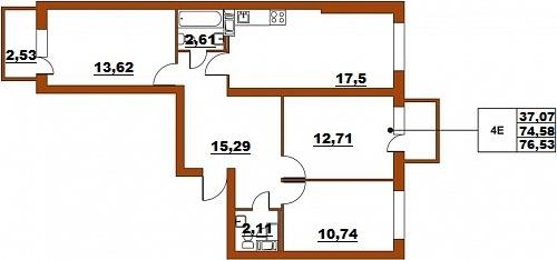 Планировка Четырёхкомнатная квартира (Евро) площадью 76.53 кв.м в ЖК «ЖК Итальянский квартал»