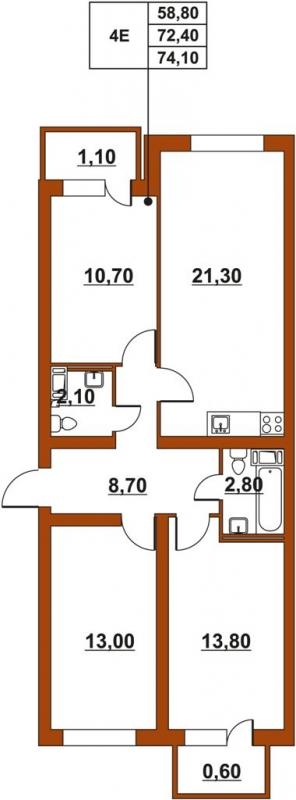 Планировка Четырёхкомнатная квартира (Евро) площадью 74.52 кв.м в ЖК «ЖК Итальянский квартал»